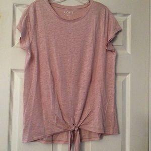 LOFT Linen Tie Front Top Baby Pink NWT